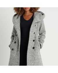 Anna Field - Light Grey Hooded Double Breasted Coat - Lyst