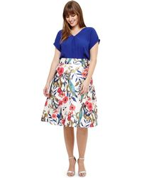 Studio 8 - Sizes 12-26 White Samantha Floral Skirt - Lyst