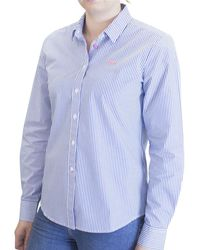 Raging Bull - Ladies Mid Blue Pinstripe Shirt - Lyst