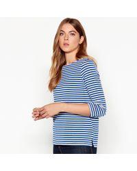 Vero Moda - Blue Stripe 3/4 Length Sleeve Top - Lyst