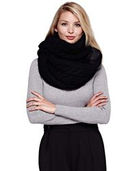 Yumi' - Black Chunky Knit Snood With Faux Fur - Lyst