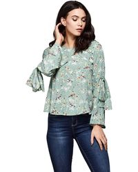 Yumi' - Bird Patterned Flute Sleeves Top - Lyst