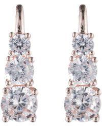 Anne Klein - Rose Gold Cubic Zirconia Linear Earrings - Lyst
