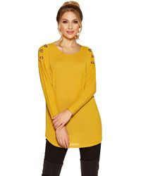 Quiz - Mustard Eyelet Light Knit Top - Lyst