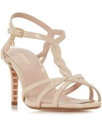 Dune - Natural 'wf Mystick' Mid Stiletto Heel Wide Fit Ankle Strap Sandals - Lyst
