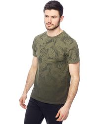 Red Herring - Big And Tall Khaki Palm Leaf Print Slim Fit T-shirt - Lyst