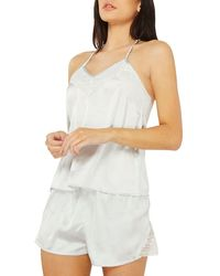Dorothy Perkins - Blue Lace Back Camisole Pyjama Set - Lyst