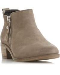 Dune - Natural Leather 'putnam' Block Heel Ankle Boots - Lyst