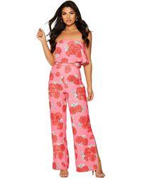 f4e34e67932b Free People Maritzah Floral Print Jumpsuit in Pink - Lyst