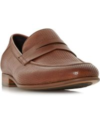 Dune - Tan 'palazzo' Perforated Penny Loafers - Lyst