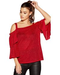 0fc512dbb7b0ed Quiz Curve Red Glitter Strap Cold Shoulder Top in Red - Lyst