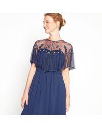 Jenny Packham - Navy Floral Sequin Embellished V-neck Shrug - Lyst