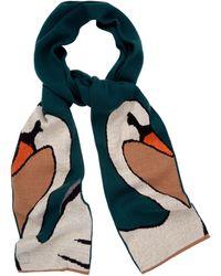 Yumi' - Green Swan Print Knitted Scarf - Lyst