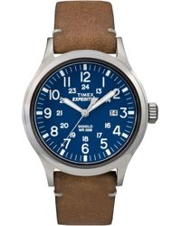 Timex - Men's Blue 'expedition Scout' Leather Strap Watch Tw4b01800 - Lyst