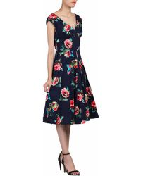Jolie Moi - Navy Floral Print 50s Fit & Flare Dress - Lyst
