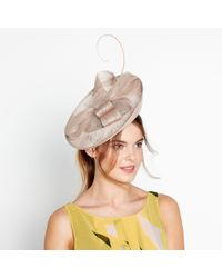 d8764682811a J By Jasper Conran Beige 'amy' Feather Bow Fascinator in Natural - Lyst