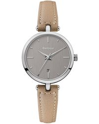 Barbour - Ladies Beige 'qa' Analogue Leather Strap Watch Bb071slbg - Lyst