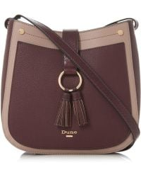 Dune - Dark Red 'doory' Small Double Tassel Cross Body Bag - Lyst