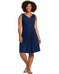 1d366c9c5 Lands' End - Blue Womens Plus Plain Sleeveless Fit And Flare Dress - Lyst