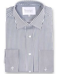 Double Two - Big And Tall Dark Grey Striped Double Cuff Pure Cotton Shirt - Lyst