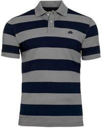 Raging Bull - Navy And Grey Large Hoop Polo Shirt - Lyst