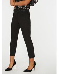 Dorothy Perkins - Black Tab Button Trousers - Lyst