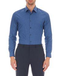 Burton - Navy Slim Fit End On End Stretch Shirt - Lyst