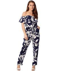 Izabel London - Navy Floral Print Bardot Jumpsuit - Lyst