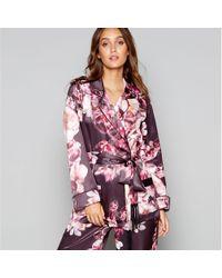 Lipsy - Purple Floral Print Satin�'kaitlyn'�long Sleeve Pyjama Top - Lyst