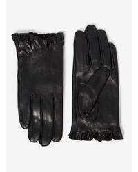 Dorothy Perkins - Black Frill Leather Gloves - Lyst