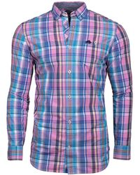 Raging Bull - Long Sleeve Madras Check Mid Blue Shirt - Lyst