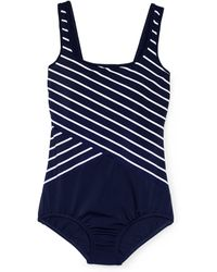 203381b2e934d Lands  End Blue Regular Tugless Soft Cup Striped Spliced Swimsuit in ...