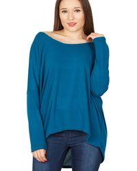 Be Jealous - Turquoise Knit Hi-low Top - Lyst