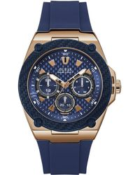 5e7721e31 Guess Rigor Rose Gold Stainless Steel Mens Watch in Blue for Men - Lyst