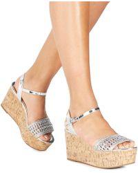 Faith - Silver 'diva' High Flatform Heel Ankle Strap Sandals - Lyst