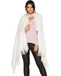 Quiz - White Faux Fur Collar Knit Cape - Lyst