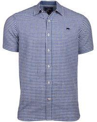 Raging Bull - Navy Short Sleeve Gingham Shirt - Lyst