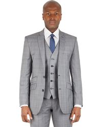 Ben Sherman - Grey Heritage Check 2 Button Front Slim Fit Kings Suit Jacket - Lyst
