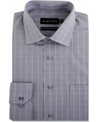 Double Two - Grey Square Check Formal Shirt - Lyst