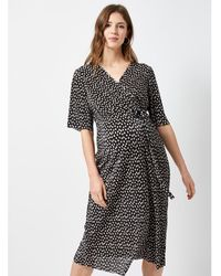 9ad9d2c1bede4 Dorothy Perkins Maternity Black Branch Short Sleeve Wrap Dress in Black -  Lyst
