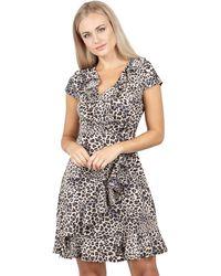 Izabel London - Beige Printed Wrap Tea Dress - Lyst
