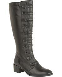 Lotus - Black Leather 'spindle' Mid Block Heel Knee High Boots - Lyst