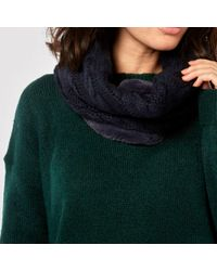 Dorothy Perkins - Navy Cable And Faux Fur Snood - Lyst