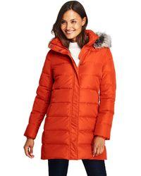 Lands' End - Orange Petite Fur Hooded Down Coat - Lyst