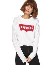 Levi's - White Logo Print Jumper - Lyst