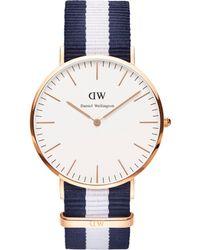 Daniel Wellington - Gents Rose Gold Glasgow Navy/white Nato Strap Watch 0104dw - Lyst