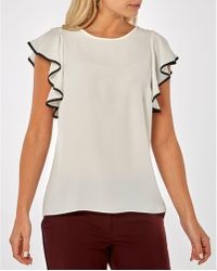 Dorothy Perkins - Ivory Piped Ruffle Top - Lyst