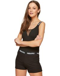 Miss Selfridge - Pineapple Mono V-shape Fishnet Bodysuit - Lyst