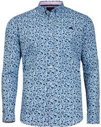 Raging Bull - Sky Blue Micro Floral Print Shirt - Lyst