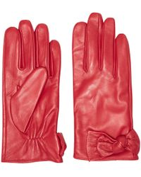 Dorothy Perkins - Red Ruched Leather Knot Gloves - Lyst